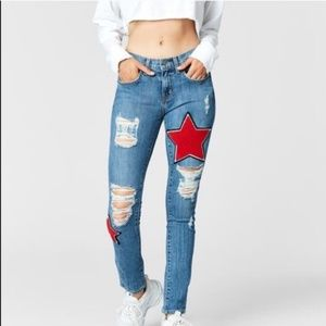 Carmar patched jeans with red stars distressed